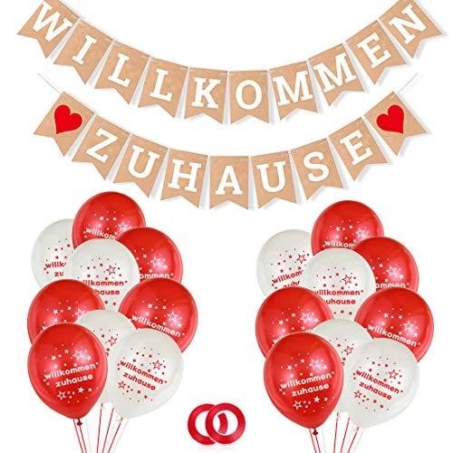 Willkommen Zuhause Banner Girlande, Welcome Home Girlande, Buchstaben Wimpeln Banner und 30 Stück Luftballons für Familie Partei Dekoration, Baby Willkommen Zuhause Deko
