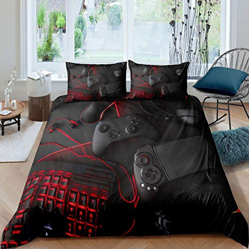 Game Comforter Cover Queen Size Gamepad Bedding Set Game Console Modern Sci-Fi Style Duvet Cover for Teen Boys Player Video Game Controller Quilt Set with Zipper Ties,1 Duvet Cover with 2 Pillowcases