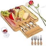 PUMYPOREITY - Juego de cuchillos y tabla de queso de bambú, bandeja para charcuterie y queso con cajón deslizante para galletas de frutas, carne, el mejor regalo para Navidad, San Valentín cumpleaños