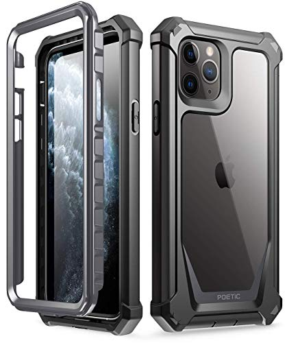 iPhone 11 Pro Case, Poetic Full-Body Hybrid Shockproof Rugged Clear Bumper Cover, Built-in-Screen Protector, Guardian Series, Case for Apple iPhone 11 Pro (2019) 5.8 Inch, Black/Clear
