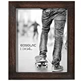 Eosglac Rustic Picture Frames 11x14, Weathered Dark Brown Reclaimed Look Wooden Photo Frame with Plexiglass Front, Wall Mounting Display