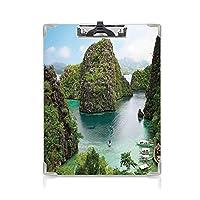 フォルダーボードフォルダーライティングボード オーシャンアイランドの装飾 事務用品の文房具 (2パック)フィリピンの雄大な崖の風景ワイルドホットネイチャーリゾートオフピクチャーグリーンブラウンブルー
