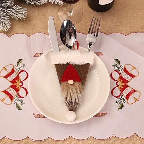 HJCWL 3 stuks Santa Hat rendier jaar pocket vork mes mes tas huis tafel party avondeten decoratie servies