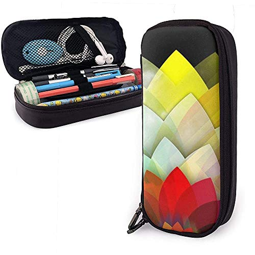 Regenbogenblume In Dunklem Pu-Leder-Federmäppchen, Stifttasche Mit Großer Kapazität, Strapazierfähige Schreibwaren-Organizer Mit Elastischen Gürteln