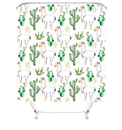 Duschvorhang Mit Motiv Schafe Und Kakteen Polyester Shower Curtain Antischimmel Wasserabweisend Für Badewanne Dusche Mit Ringe Für Duschvorhang (120 X 180 cm)