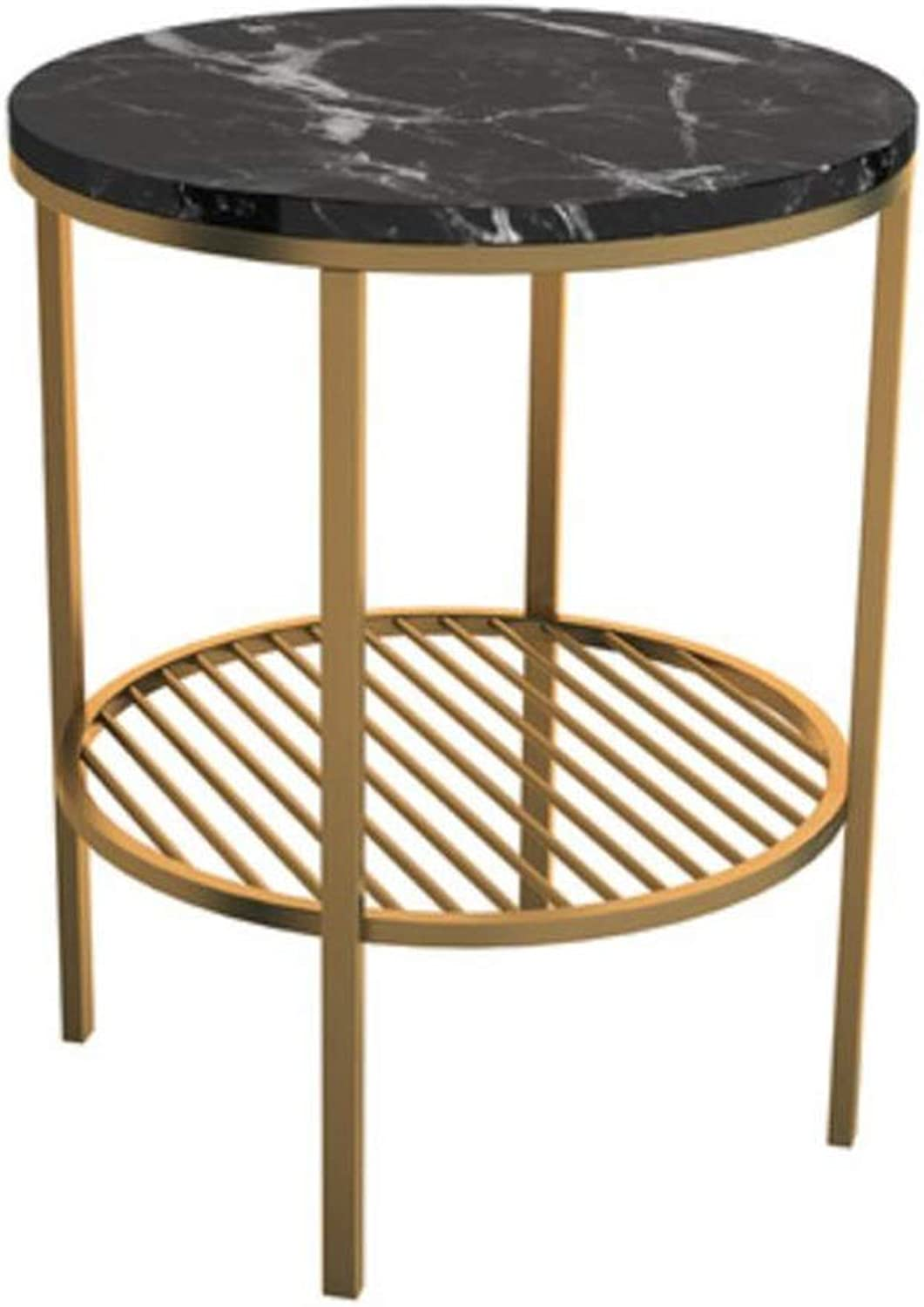 LYN Sofa Side End Table, Round Side Table with Marble Exterior Lightweight Metal Effect Furniture for Bedside Corridor Living Room (color   Black, Size   B)