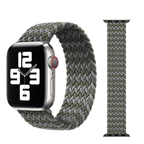 2 piezas trenzadas Solo Loop bnad para correa de reloj de Apple 44mm 40mm 42mm 38mm 44mm pulsera de tela elástica de nailon para iWatch Serie 6543211-14,38mm o 40mm-L