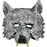 Abenily Halloween Werwolf Maske Simulation Wolf Maske Horror Wolf Gesichtsmaske Party Performance Street Party Maskerade und andere graue Halloween Party Dekoration