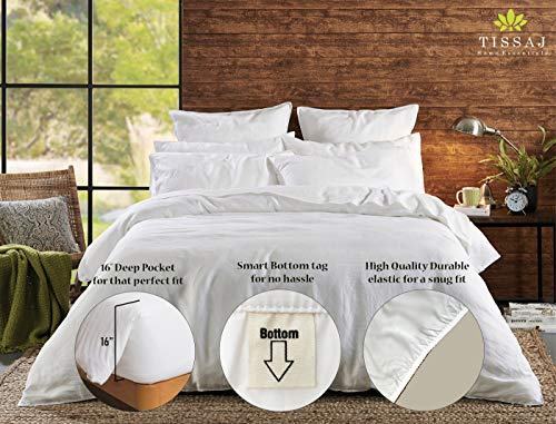 """Queen Sheet Set - Organic Cotton Sheets Set - 500TC Queen Size Ultra White - 4 Piece Bedding - 100% GOTS Certified Extra Long Staple, Soft Sateen Weave Bed Sheets - Fits 15"""" Deep Pocket Mattress"""