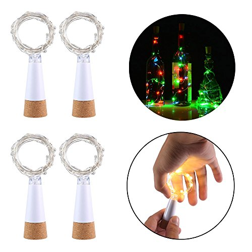 LED String Lights, Auoker 4pcs Rechargeable USB Cork Bottle Fairy Wire Lights with 1.5m 15 LED, Great for DIY, Party, Decoration, Christmas, Halloween, Wedding (Warm White)