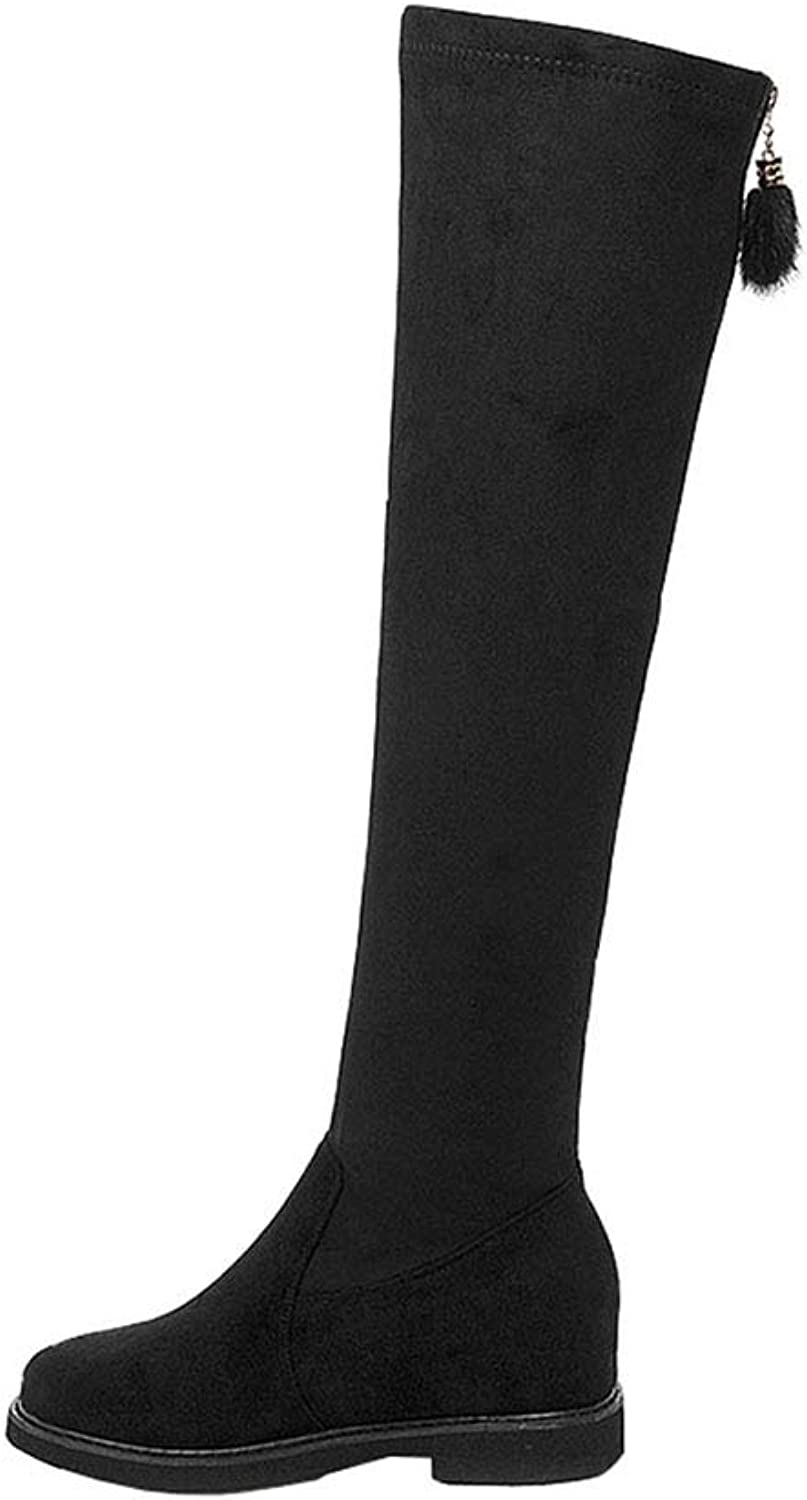 Women's Boots Academy Flat Ladies Long Boots Round Head Slim High Boots Fashion Boots Suede Casual Boots (color   Black, Size   39)