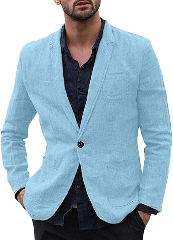 Men's Blazer Cotton Blend Solid Suit for Formal Business Wedding Party Jacket