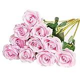 DuHouse 10pcs Fake Roses Artificial Silk Flowers Faux Rose Flower Long Stems Bouquet for Arrangement Wedding Centerpiece Party Home Kitchen Decor (Pink)
