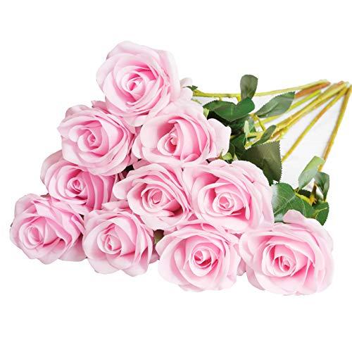 DuHouse 10 rosas falsas flores de seda artificiales de imitación de rosas rosas para arreglos de boda, centro de mesa, fiesta, hogar, cocina, decoración (rosa)