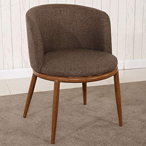 AMLY@ Nordic Imitation Solid Wood Dining Chair Accent Chair Modern Ergonomic Padded Backrest and Armrests, Walnut Color + Dark Brown Soft Bag