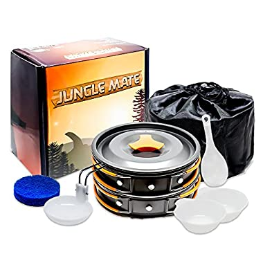 Jungle Mate Outdoor Camping Cookware Mess Kit, Lightweight Camping Cookset, Compact Anodized Aluminum Camping Pans and Utensils