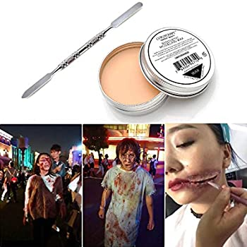 COKOHAPPY Halloween Party Stage Special Effects Nude Color Putty/Wax Wound Modeling Scar Fake Face Body Paint 1.76oz  Fancy Cosplay Makeup with Spatula Tool