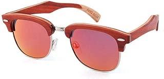 LUKEEXIN Women's Rivet Decoration Semi-Rimless Polarized Wooden Sunglasses Handmade Sunglasses UV Protection Driving Sunglasses Beach Sunglasses (Color : Red)