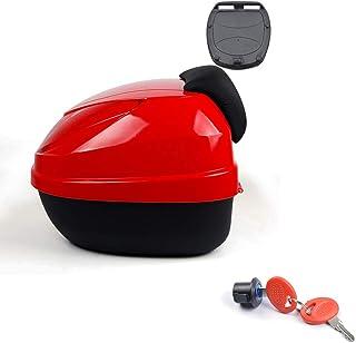 YMhbx 30L Motorrad Kofferraum Helmkoffer Motorradkoffer Scooter Topcase Universal mit weicher Rückenlehne,Schnelle Demontage,Silber/Rot