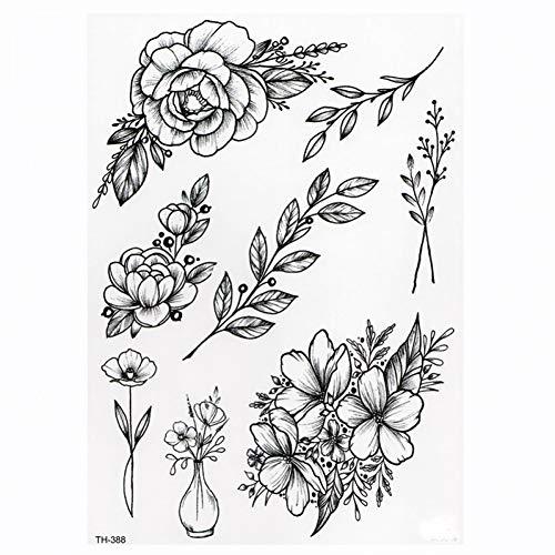 SDEFGH Etiqueta engomada del tatuaje 3 Piezas Reloj Rosa Impermeable Tatuaje Temporal Brazo Muslo Tatuajes Rosa para Mujer Flash Tatuaje Pegatinas