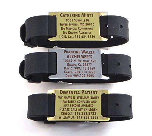 Premium Alzheimers Dementia/Identification Bracelet - Free Dark Laser Engraving Custom Personalization
