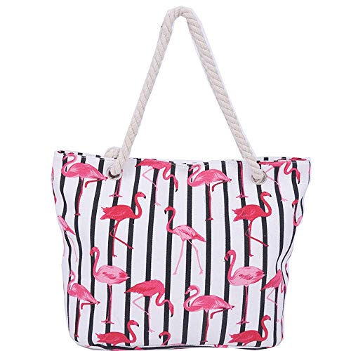 Funtlend Damen Strandtasche mit Reißverschluss und Innentasche Damen Handtasche Henkeltasche Damen Shopper Flamingo