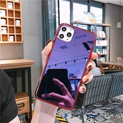 LIMITED Vinatge Mirror Bumper Funda para teléfono a Prueba de Golpes para iPhone 12 11 Pro XS MAX 7 8 6s Plus XR X SE 2020 Funda Trasera Colorida y Brillante Capa para iPhone XR Rojo