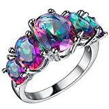 FENDINA Womens Silver Plated Gorgeous Five Stone Colorful CZ Crystal Promise Engagement Wedding Bands Eternity Collection Anniversary Rings for Her Valentin's Day Gifts Size 9