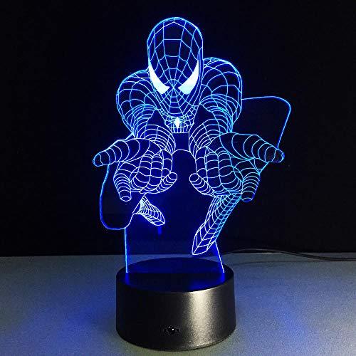 Spiderman 3D Night Light 7 Cambio de color Usb Lámpara de escritorio Led Interruptor táctil Barra de luz para niños Niños Giftsusb Recargable Chico Niños Chicas Presente Decoración de ahorro de energí
