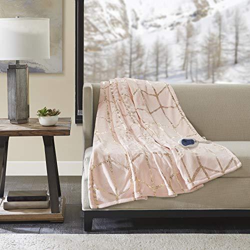 "True North by Sleep Philosophy Raina Electric Blanket Plush Throws-Low EMF-50"" x 60""-Metallic Geometric Print Cozy Soft-3-Setting Heat Controller-5 Years Warranty, 50X60 Inches, Blush"