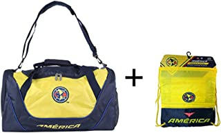 Club America Duffle Duffel Bag Gym + Club America Drawstring Cinch Sack Soccer