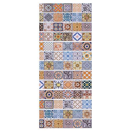 Pegatinas Adhesivos Autoadhesivos Para Escaleras Cocina Piso Baño Decoración Vintage Multicolor Multi-Estilo Hogar Impermeable Extraíble Etiqueta De Pared 18 * 100Cm * 13Pcs- Azulejos De Colores