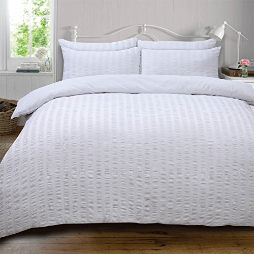 Highams Seersucker Duvet Cover with Pillow Case Bedding Set, Luxury White - Double