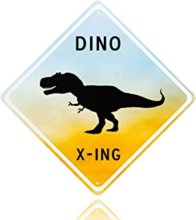 Dinosaur room decor - Decorative Aluminum blue Dinosaur Crossing Street Sign. Fun Bedroom art for little Boys room. Put the poster away & fill his room with Fun tin wall art dino x-ing signs!