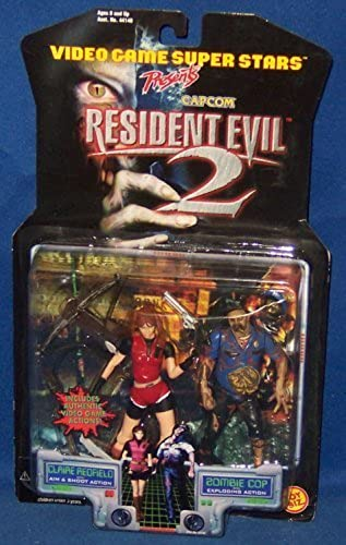 Claire rotfield with Aim & Shoot Action and Zombie Cop with Exploding Action - Video Game Super Stars Presents Capcom Resident Evil 2 Action Figures by Resident Evil