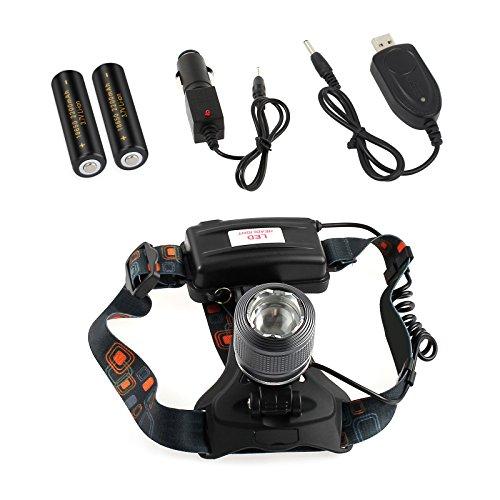 AUTOUTLET Profi Police LED Cree Stirnlampe Kopflampe 12000LM T6 XM-L 2x 18650 Akku 3 Modus