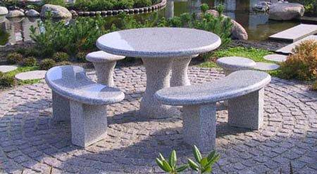 Gartentisch, Granittisch, Tisch Bodensee - rund, aus hellgrauem Granit (Durchmesser 120cm)