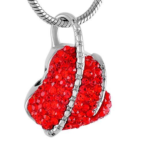 OPPJB Memorial Urna De Cremación Collar De Urna con Incrustaciones De Cristal Elegante Souvenir Women-J
