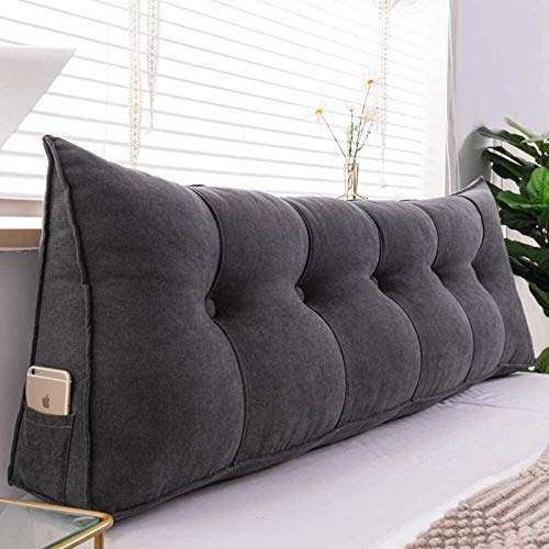 N\A LUCK Back Support Pillow Velvet Backrest Cushion Triangular Wedge Reading Pillows Bolster Cushions Lumbar Support Removable Washable, For Office Sofa (Color : Darkgray, Size : 60×50×20cm)