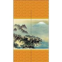 【2枚セット】のれん のれん 横山大観 蓬莱山 橙色 黄色 オレンジ No.TNR-0291 (受注生産)
