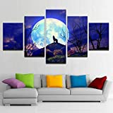 XITANG 5 Piece Canvas Painting Modern Poster For Living Room Wall Art Full Moon Night Forest Animal Wolf HD Prints Home Decor