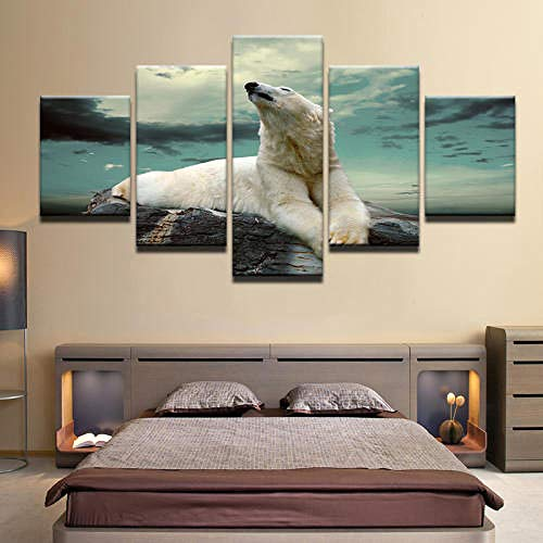QMCVCDD Moderno Cuadro En Lienzo 5 Piezas Animal De Pintura De Oso Polar HD Poster Pictures Paintings Home Decor Impresión Artística Fotográfico Regalo -Sin Marco
