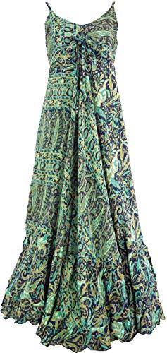 GURU SHOP Seidiges Maxikleid, Sommerkleid, Damen, Türkis, Synthetisch, Size:38, Lange & Midi-Kleider Alternative Bekleidung