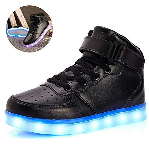 Kinder LED leuchten Turnschuhe, Boys & Girls Big Size Luminous Flashing Gehen Stiefel-Trainer-Schuhe USB aufladbare Sportschuhe,Schwarz,25