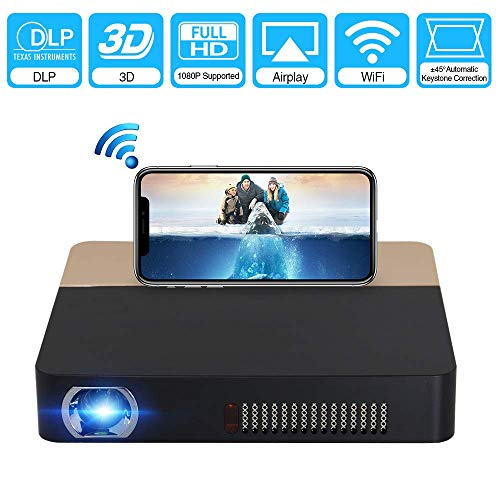WYJW Mini proyector, proyector inalámbrico Pico para Cine en casa, Pantalla 3D 2000 HD 1080P Bluetooth Video Proyector Compatible con tabletas, TV, computadoras portátiles, iPhone, Gaming Party M