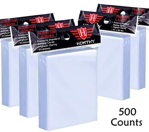 500 Counts Card Sleeves Toploaders for Trading Card, Soft Clear Baseball Card Sleeves Fit for Football Card, Sports Cards, MTG, Yugioh, Pokemon Card