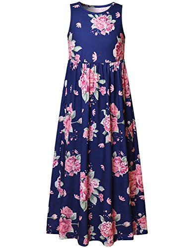 Floral Maxi Dresses for Big Girls 10 12 Flower Long Dress Party Special Occasion
