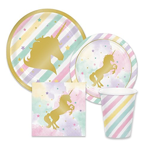 Creative Converting Unicorn Pink & Metallic Gold Sparkle Party Supplies - Tableware for 16 Guests - Plates, Napkins, & Cups