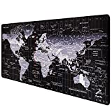 Anpollo Tappetino Mouse Gaming Grande Mouse Pad XXL 900x400mm con Base in Gomma Antiscivolo Nero - Modello World Map