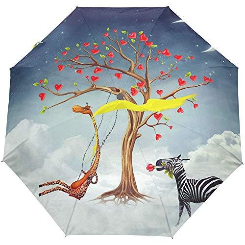 Zebra-Griraffen-Herz-Baum 3 faltet Sich Auto-Open-Close-Anti-UV-Regenschirm
